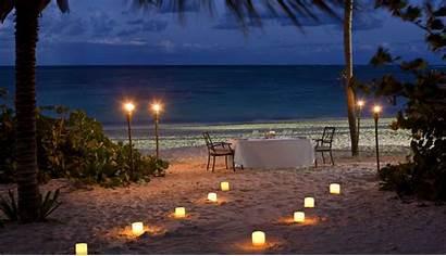 Romantic Beach Romance Dinner Night Sunset Ocean