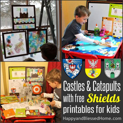 preschool activities with castles catapults and free 230 | 650 Medieval Play for Kids Castles and Catapults with FREE Shields printables for Kids HappyandBlessedHome