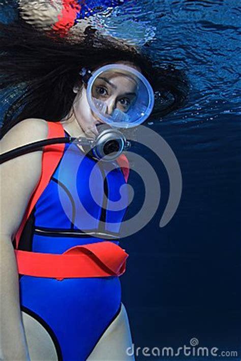 female scuba diver stock photo image