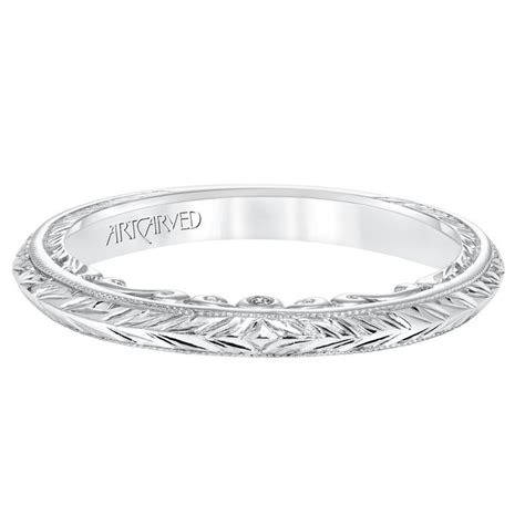 London Gold Artcarved Engraved Diamond Wedding Band
