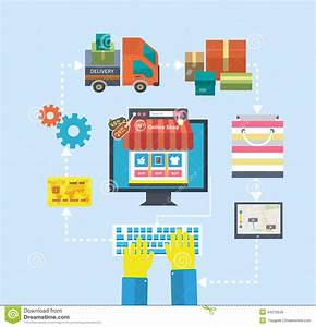 Online Shop De : internet shopping process purchasing and delivery stock vector image 44276640 ~ Buech-reservation.com Haus und Dekorationen