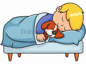 Kid Sleeping Together With Dog Cartoon Vector Clipart ...