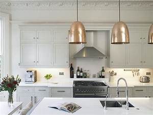 stanley copper pendants transitional kitchen With best brand of paint for kitchen cabinets with copper wall art home decor