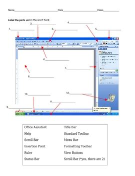 Microsoft 2010 Word Labeled Diagram by Microsoft Word 2003 Label The Parts By Krissy Edwards Tpt