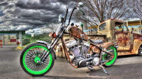 Rusty American Chopper Style Motorbike And Pickup Truck