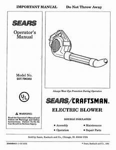 Craftsman Blower 257 796362 User Guide