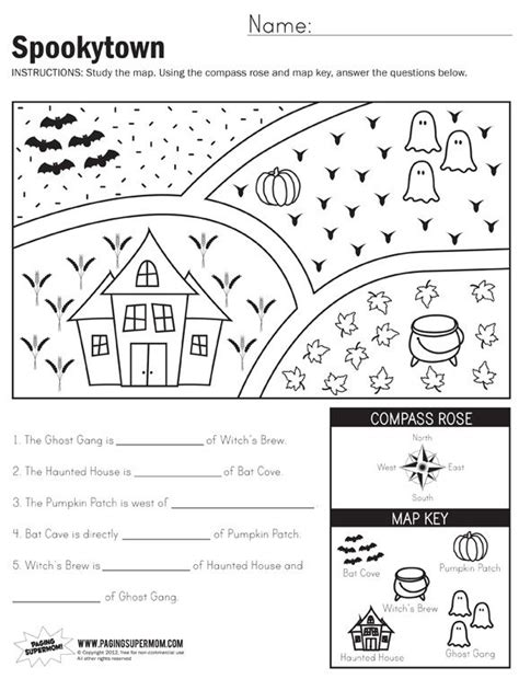 spookytown map worksheet 1st grade worksheets 3rd