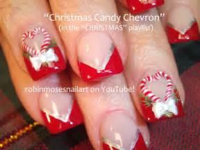 Diy christmas nail art xmas candy cane nails bows design tutorial