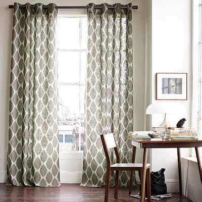 White and Grey Living Room Curtains