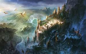 Fortress dragon castle artwork wallpaper | 1920x1200 ...