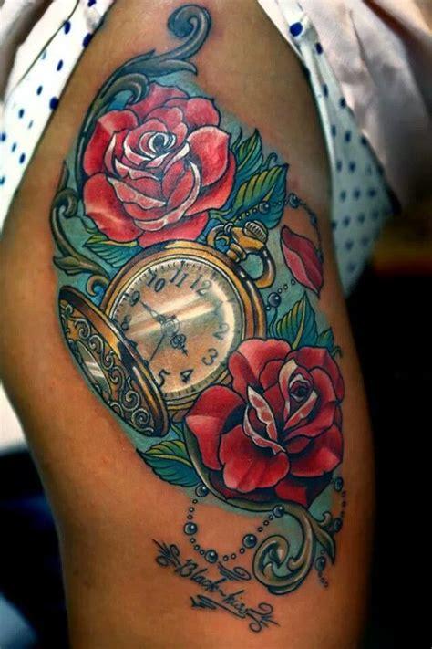 beautiful clock tattoos  girls