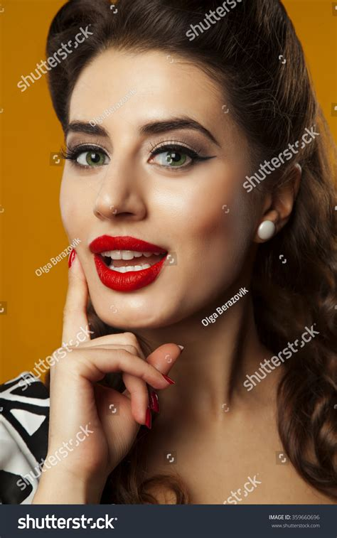 Beautiful Girl Red Lipstick Style Pinup Stock Photo