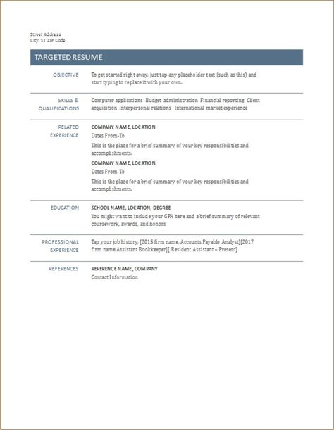 Targeted Resume Template by All Types Of Resume Template Word Excel Templates