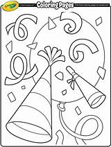 Coloring Confetti Pages Sheets Crayola Years Happy Party Printable Number Getcoloringpages Duathlongijon Clock sketch template