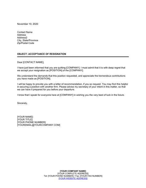 Acceptance of Resignation Template | by Business-in-a-Box™