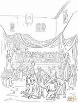 Coloring Feast Cana Marriage Parable Banquet Bible Drawing Printable Crafts Template Fresh sketch template