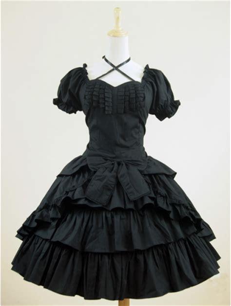black short sleeves gothic lolita dress devilnightcouk
