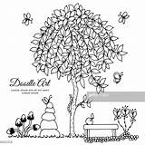Bench Tree Drawing Doodle Coloring sketch template
