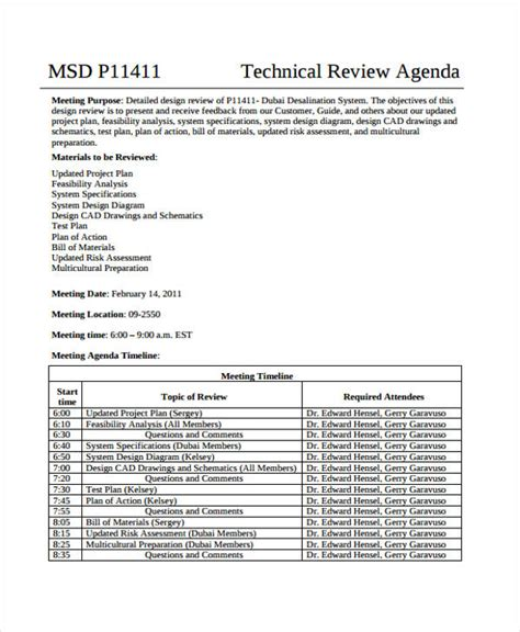 review agenda templates   word   format