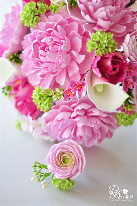 Dk Designs Pink And Green Bridal Bouquet And Boutonniere