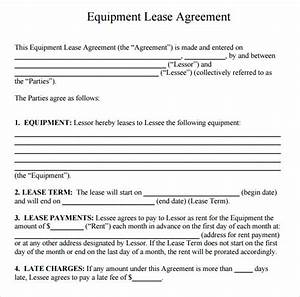 14 equipment rental agreement templates sample templates With equipment lease document