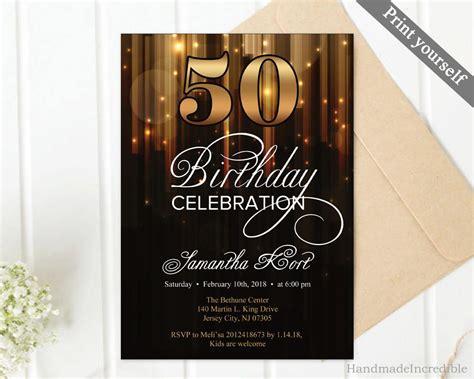 Modern Gold and Black 50th Birthday Invitation Template