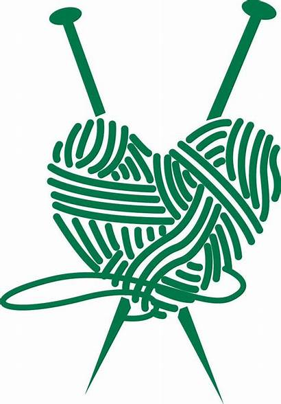 Knitting Yarn Needles Heart Clipart Vinyl Decal