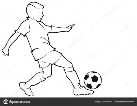 Chico Futbolista Contorno — Vector De Stock © Chebanova