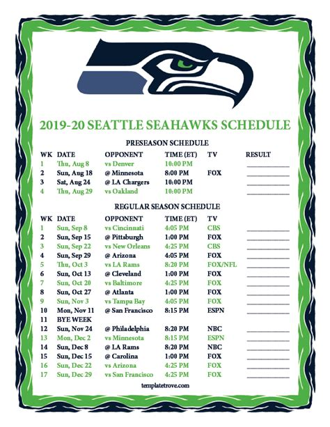 printable   seattle seahawks schedule