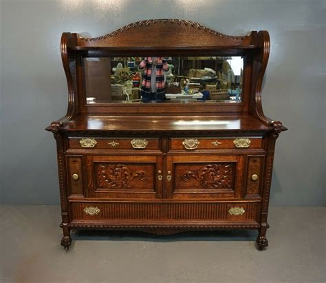 Antique Oak Buffet Sideboard by Antique Tiger Oak Carved 2pc Mirrored Sideboard Buffet Bar