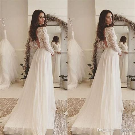 Discount 2017 Simple Elegant Bohemian Wedding Dresses Deep