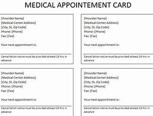 medical appointment cards multiple providers bing images With medical appointment card template free