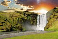 Skogafoss Waterfall Iceland Sunset