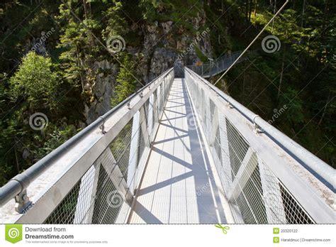 Steel Bridge Crossing The Leutasch Gorge Germany Stock