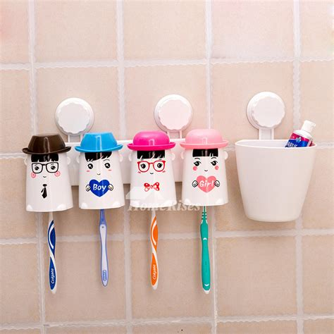 decorative suction cup cute toothbrush holder  bathroom