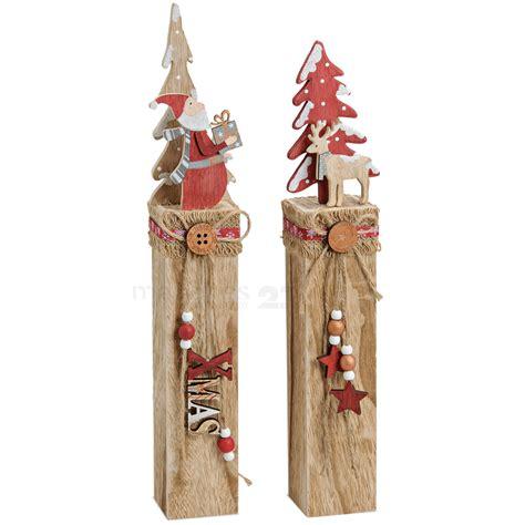 weihnachtsdeko mit holz holz weihnachtsdeko nikolaus oder rentier mit baum auf holzpfahl 1 stk 7x7x49 cm kaufen