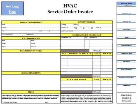 hvac invoice template hvac invoice template form templates