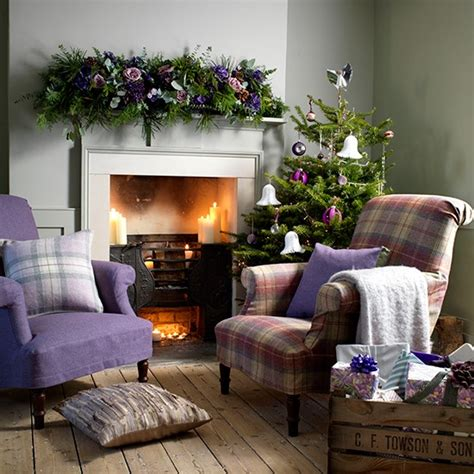 cosy christmas living room  heather armchairs