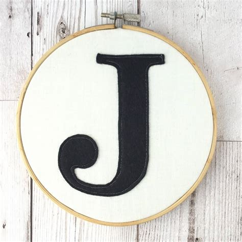 Embroidered Felt Monogram Embroidery Hoop By Pins And ...