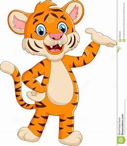 Cute Tiger Cub Holding Heart Vector Illustration ...