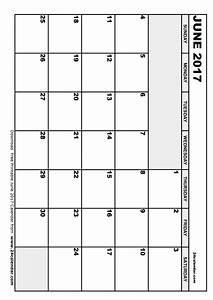 Blank June 2017 Calendar in Printable format.