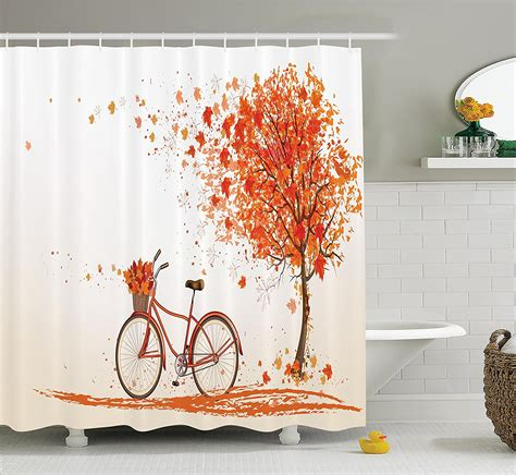 warm tour bicycle shower curtain autumn tree shower