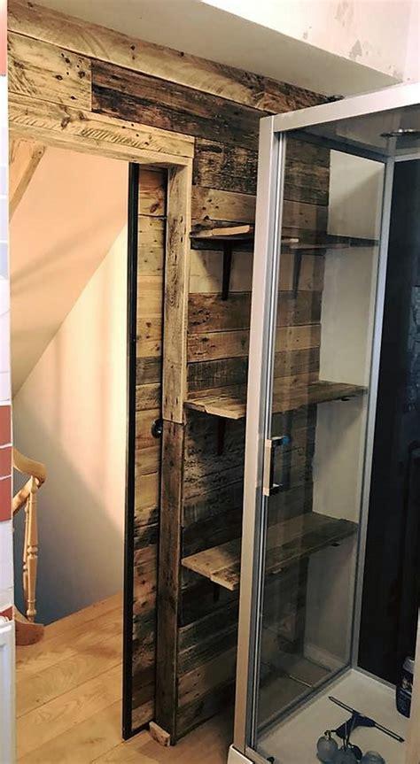 wood pallets wall art  sliding door  bathroom wood