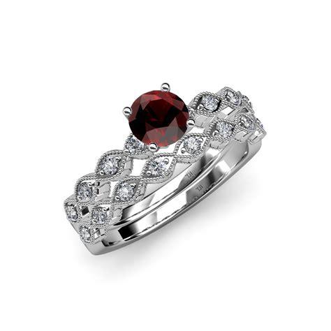 garnet diamond marquise shape engagement ring wedding band 14k gold ebay