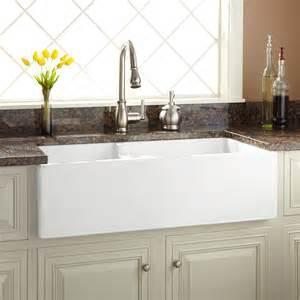 white undermount farmhouse sink 36 quot risinger 60 40 offset bowl fireclay farmhouse sink has