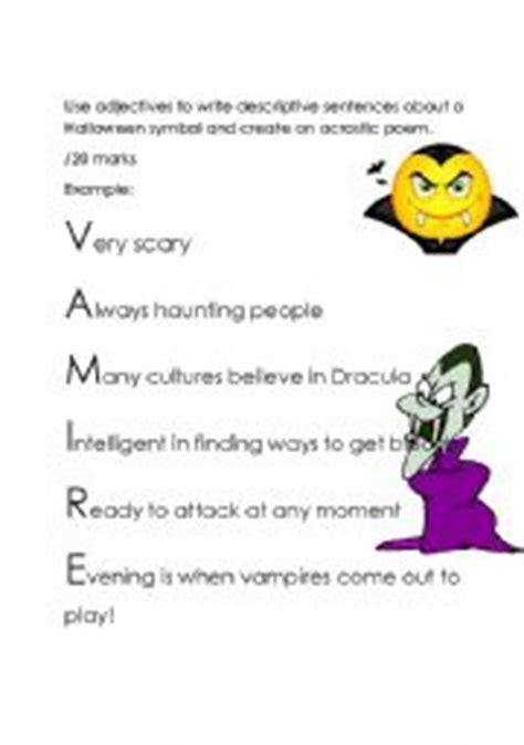 Halloween Acrostic Poem Ideas by English Worksheets Halloween Acrostic Poem