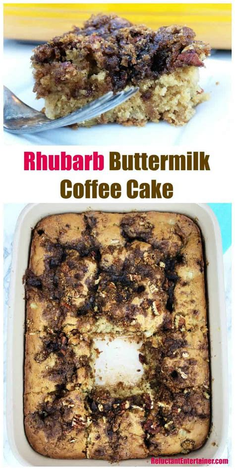 Rhubarb bread or coffee cake. Rhubarb Buttermilk Coffee Cake Recipe - Reluctant Entertainer
