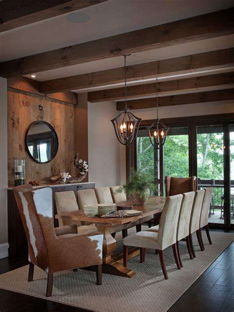 lake bluff lodge completed rustic dining room