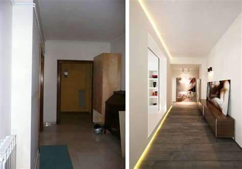 Before and after photos of an apartment transformation in