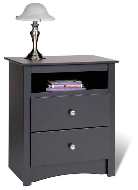 bedroom storage unit prepac sonoma black 23 inch 2 drawer nightstand w